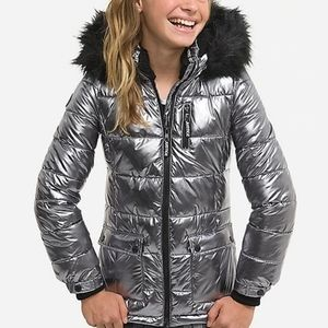 New Justice Metallic Puffer Coat size 10